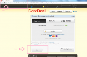 Screenshot of DoneDeal payment page