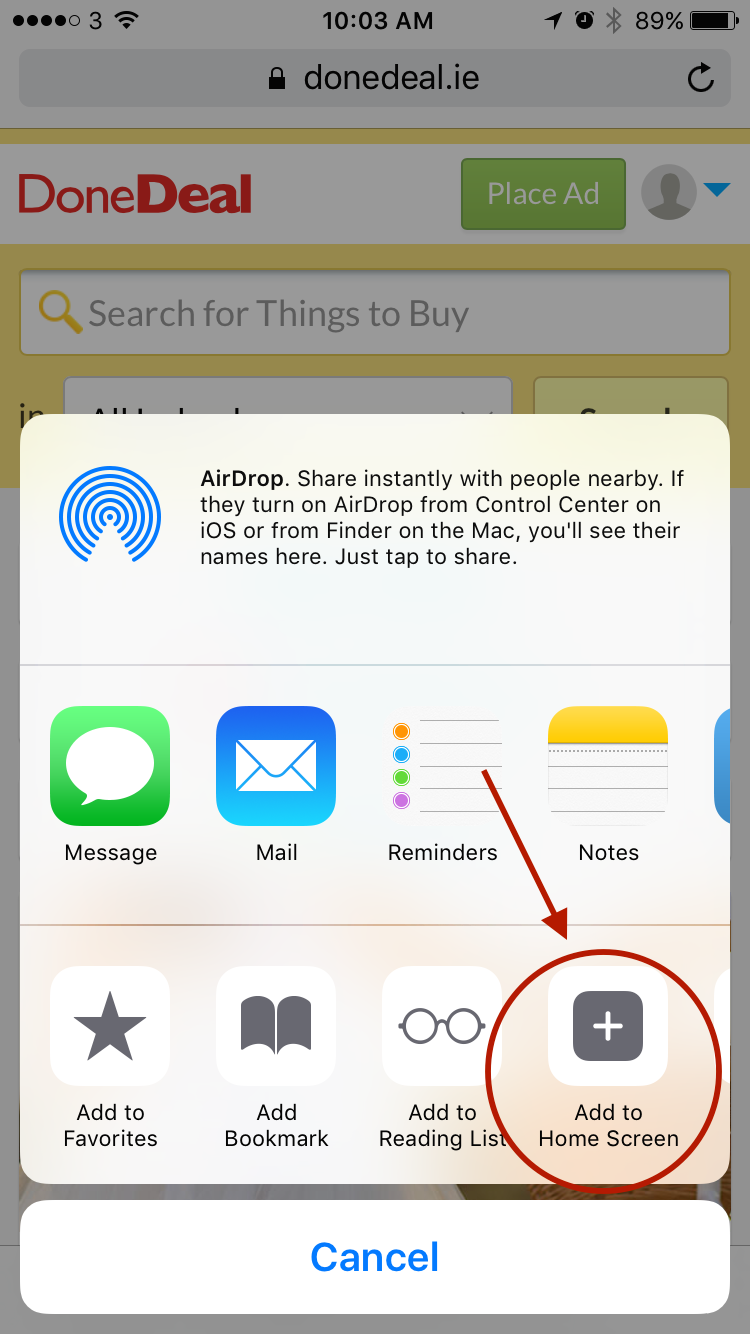How to save DoneDeal to the home screen of your iPhone or